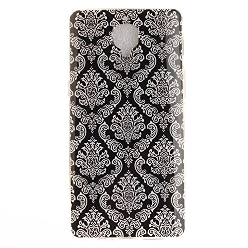 Ecoway TPU Funda Case for One Plus 3 , Ultra Thin Carcasa Anti Slip Soft Bumper Scratch Resistant Back Cover Crystal Clear Flexible Silicone Case Parachoques Carcasa Funda Bumper - León negro Totem flor
