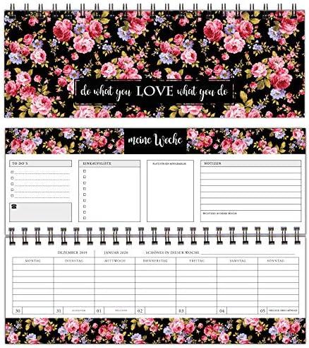 Wochen-Tischkalender 2020 - Wochenkalender Jahresplaner im Quer-Format - Querkalender, 365 Tage - 52 Wochen - 1 Woche 2 Seiten - edler Terminplaner 2020 - Querterminbuch