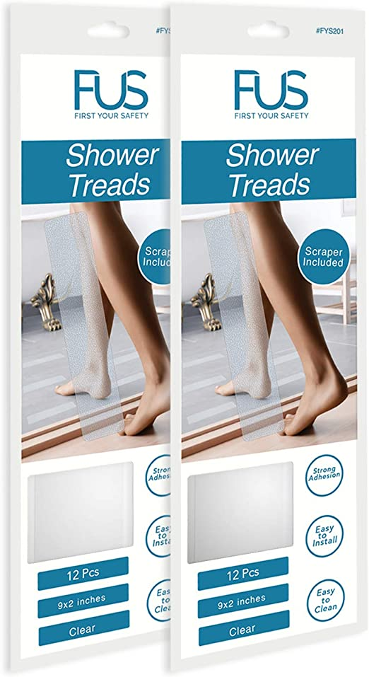 FUS Bathtub Stickers Non-Slip Shower Treads 12 Anti Slip Traction Grip Strips to