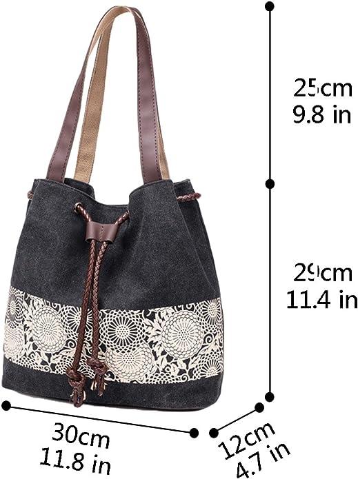 Grey Hiigoo Printing Canvas Shoulder Bag Retro Casual Woman Handbags Messenger