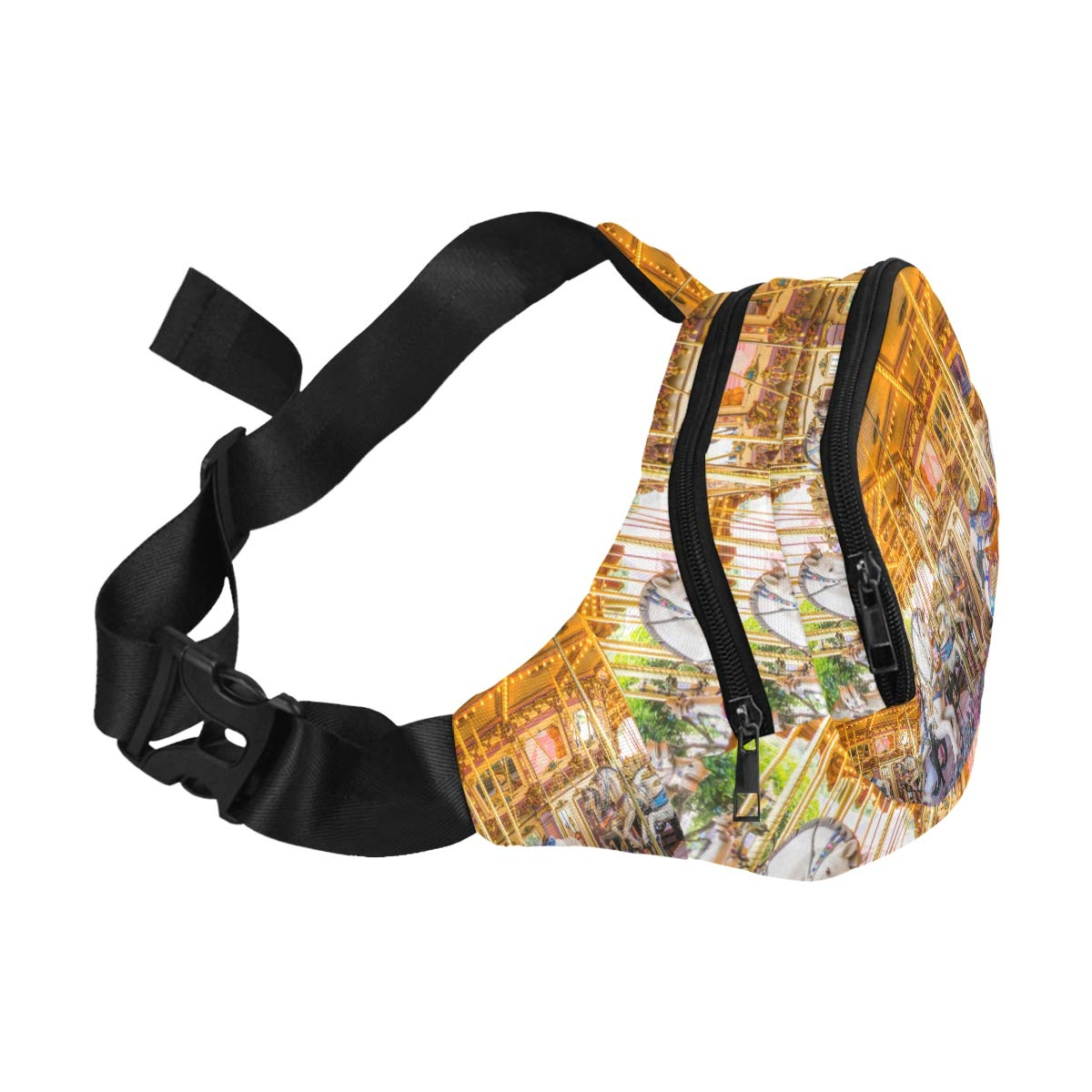 An Old Fashioned Carousel Fenny Packs Waist Bags Adjustable Belt Waterproof Nylon Travel Running Sport Vacation Party For Men Women Boys Girls Kids