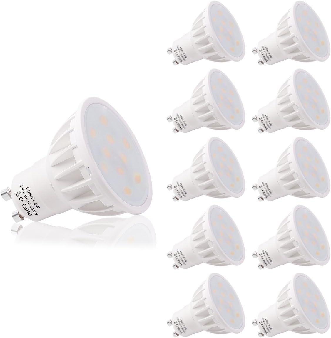 LOHAS Bombillas LED, GU10 6W Equivalente a 50W, Blanco Cálido 3000K, 500lm, No-Regulable, Paquete de 10 Unidades