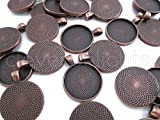 20 CleverDelights Round Pendant Trays - Antique Copper Color - 25mm 1