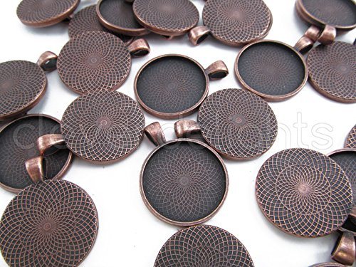 20 CleverDelights Round Pendant Trays - Antique Copper Color - 25mm 1 Diameter - Pendant Blanks Cameo Bezel Cabochon Settings - 25 mm 1 Inch