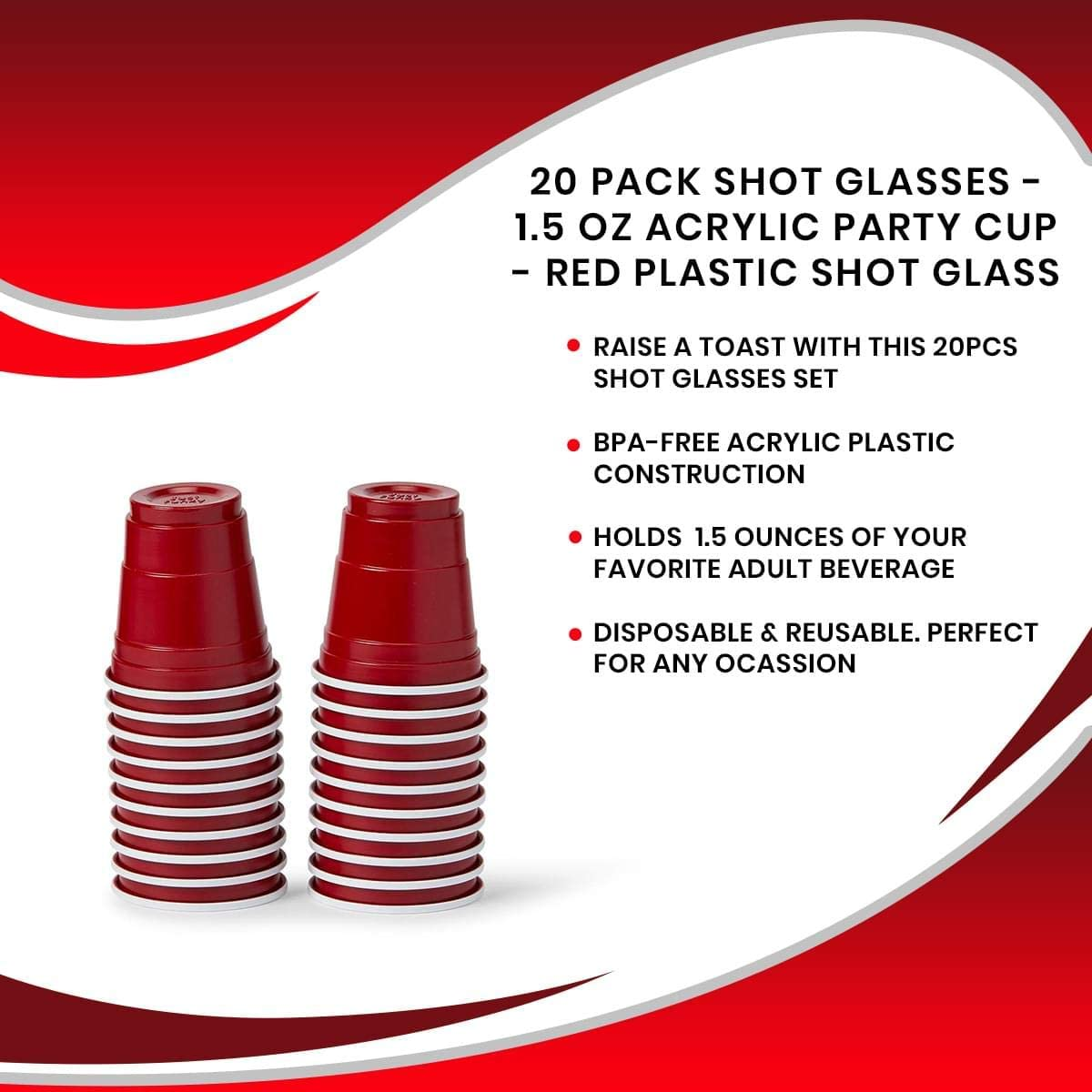 Party Games 1.5 oz Acrylic Party Cup Red Plastic Shot Glass Tasting /& Samples Wedding Disposable Beverage Drinking Ware for Birthday Poolside Parties JUST FUNKY 20 Pack Shot Glasses