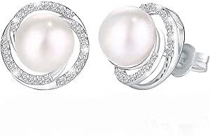 JRosee Swarovski 925 Sterling Silver Non allergenic Pearl Studs Earrings for Females Women Ladies Girl friend Gift JRosee Jewelry JR115