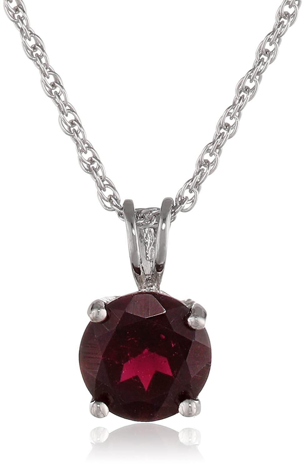 Sterling Silver Round Garnet Pendant Necklace