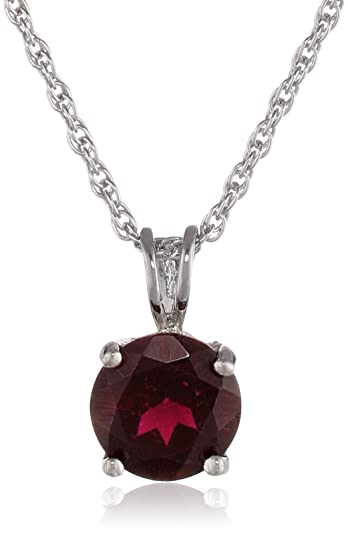 Amazon sterling silver round garnet pendant necklace jewelry sterling silver round garnet pendant necklace mozeypictures Image collections