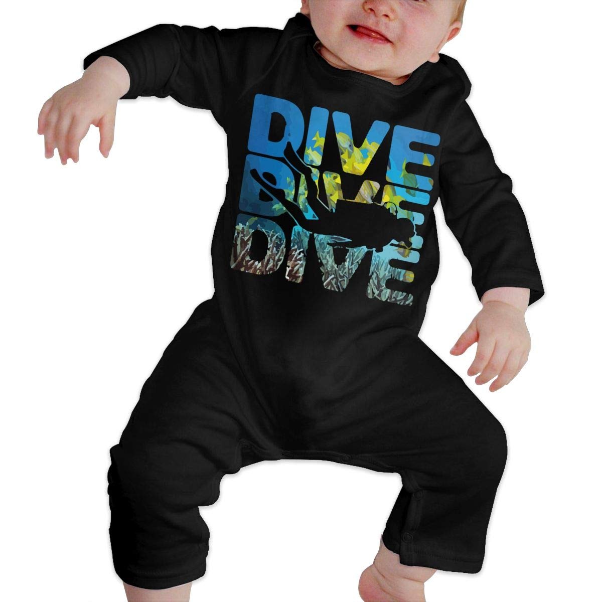 LBJQ8 Dive Dive Dive Scuba Diving Baby Infant Girls Sleep and Play Romper Jumpsuit