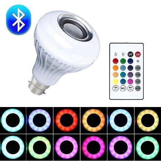 New 12W B22 E27 LED RGB Wireless Bluetooth Music Play Speaker Bulb Light Lamp UK