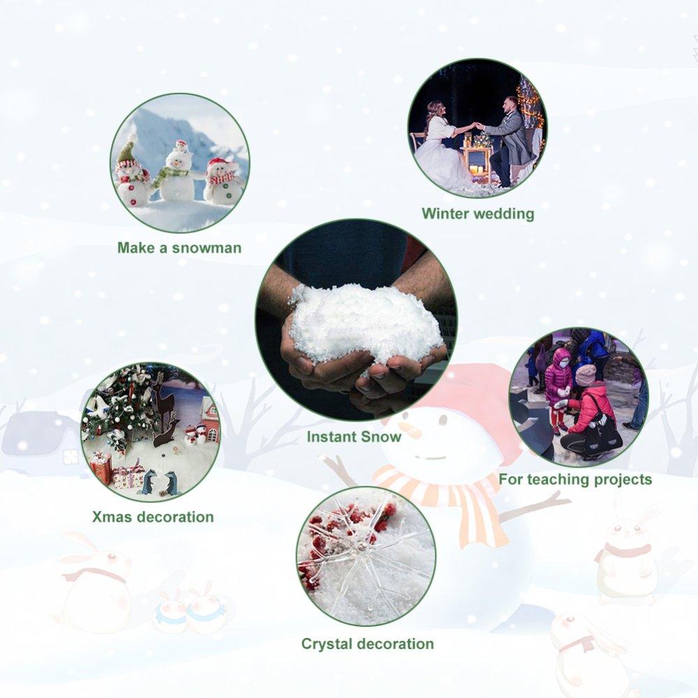 Instant Snow Powder Fluffy White Fake Snow Realistic Magic White Snow Decoration for Slime Christmas Performance