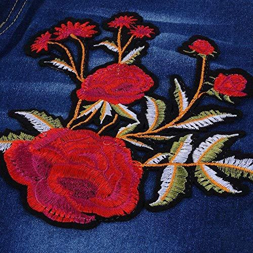 Bluemn Mezclilla Ripped Huixin Holes 2 Dunkel Lápiz With Las Stretch Chern Pantalones De Alta Cintura Elásticos Bordado Vaqueros Mujeres Blau rOqXzOx