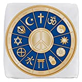 18 Inch 6-Sided Cube Ottoman International Peace Symbol Religions