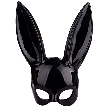 Amazon.com: TRIEtree Adult Masquerade Rabbit Mask Black Bunny Mask ...