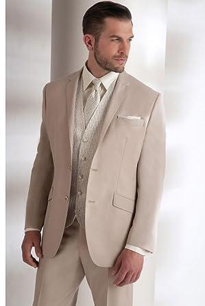 Beigen Anzug Mann 2 Knopfe Und Pattentaschen Beige 46 Amazon De