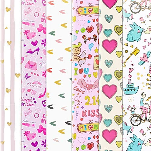 Konsait 6 Sheets Folded Large Sheets of Valentine's Day Wrapping Paper Traditional Gift Wrap, 70 x 50cm, Festive Designs Bulk, Valentine's Day Color Hearts Rose Wedding Birthday Holiday Gifts Decor