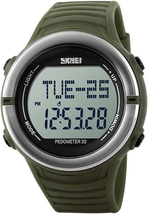 Panegy - Reloj Digital Deportivo con Múltiples Funciones Resistente al Agua con Podómetro y Monitor de Frecuencia de Corazón para Hombres-Color Verde ...
