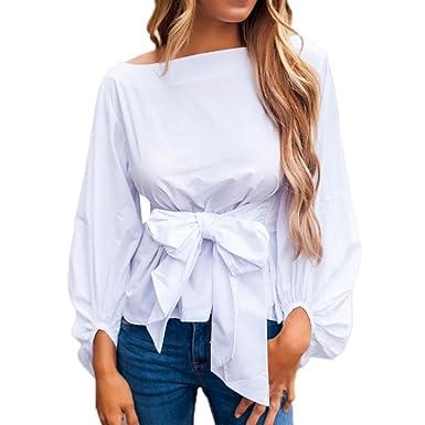 ec6238da165f Longra Damen Bluse Langarm Oberteile Elegante Mode Hemdbluse Festliche  Blusen Asymmetrisch Tops Damen Bandage Langarmshirt Weiße