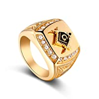 Yesiidor Men Boys Cubic Zirconia Masonic Freemason Ring Fashion Stylish Classic Gold-Plated Crystal Ring Jewelry Gift