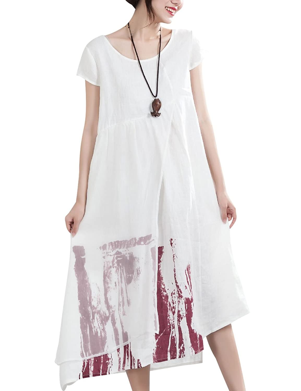 Youlee Damen Sommer Tinte gedruckt Leinenkleid
