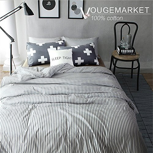 Vougemarket 3 Piece Duvet Cover Set (Queen,King) Duvet Cover with 2 Pillow Shams - Hotel Quality 100% Cotton - Luxurious, Comfortable, Breathable, Soft and Extremely Durable (Queen, Style 5) (Patterned Cover Duvet)