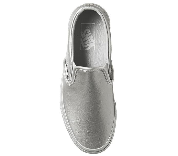 b551d024a1df2 Amazon.com | VANS CLASSIC SLIP-ON (METALLIC SIDEWALL) SILVER - MEN 5.5 /  WOMEN 7 | Loafers & Slip-Ons
