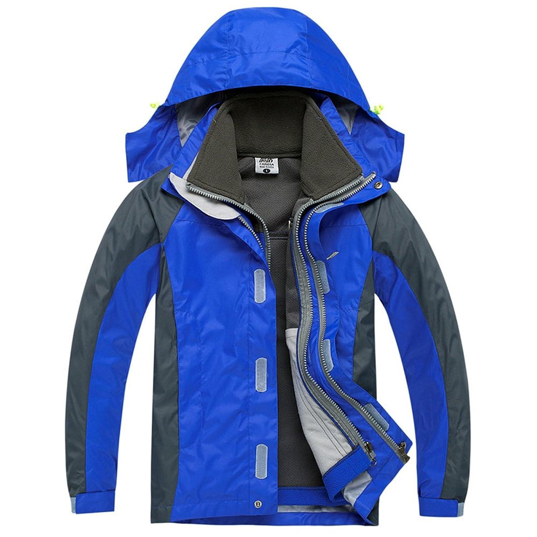 CHAO TA Kinder 3 in 1 Winddicht Wasserdicht Atmungsaktiv Mantel Outdoor Sport Camping Wandern Klettern Jacke mit Fleecejacke