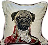 Dog Throw Pillow Cushion Cover - Tache Napoleon Bownparte - 2 Pieces 18 X 18 Inch Square French Vintage Set