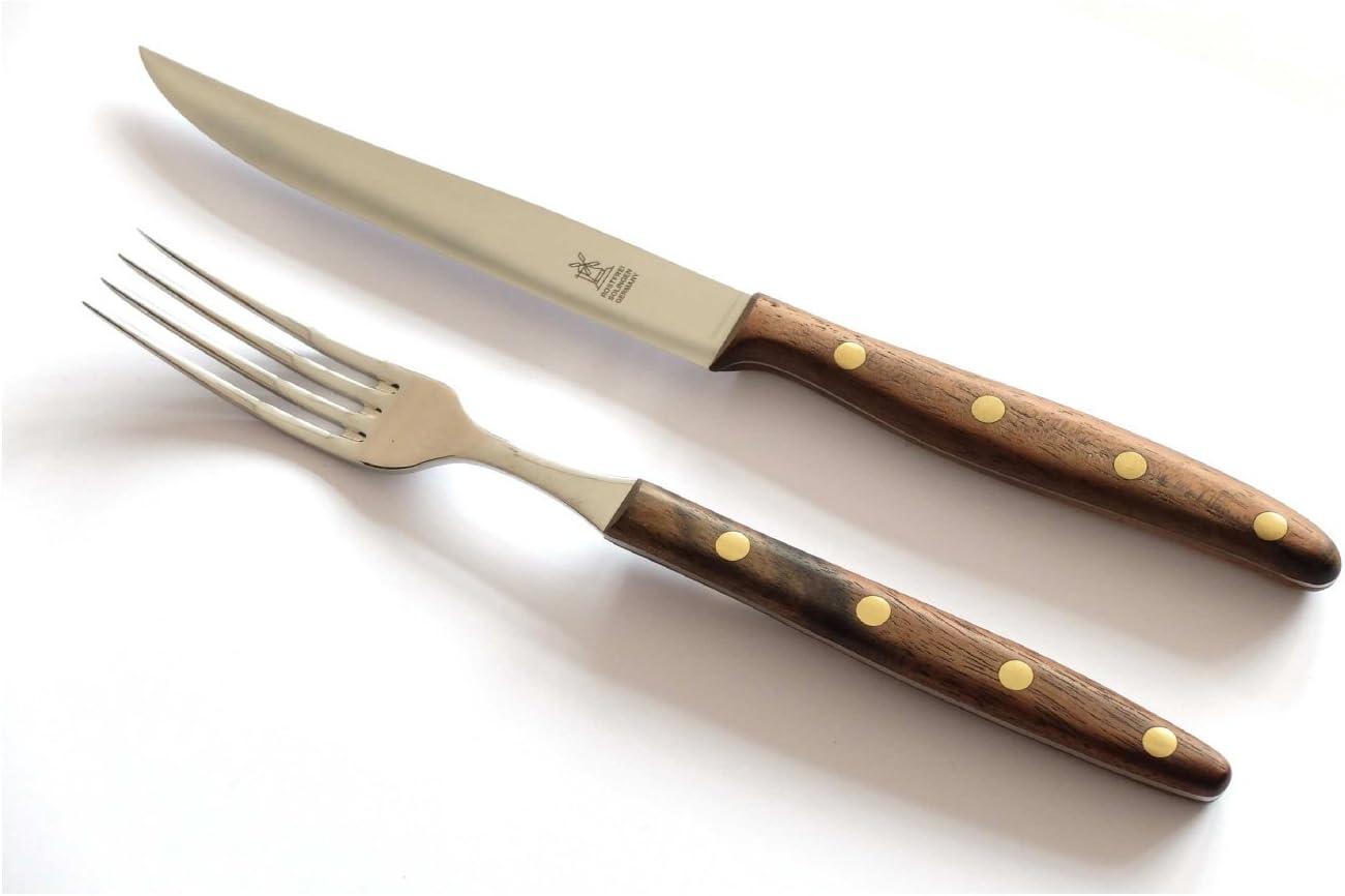 Windmühlenmesser K-Serie Steakgabel Pflaumenholz