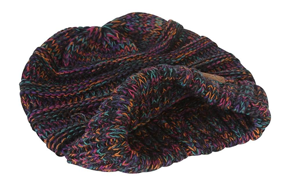 b2af6f46b5e Gravity Threads Trendy Oversized Chunky Soft Beanie - Black Multi at Amazon  Women's Clothing store: