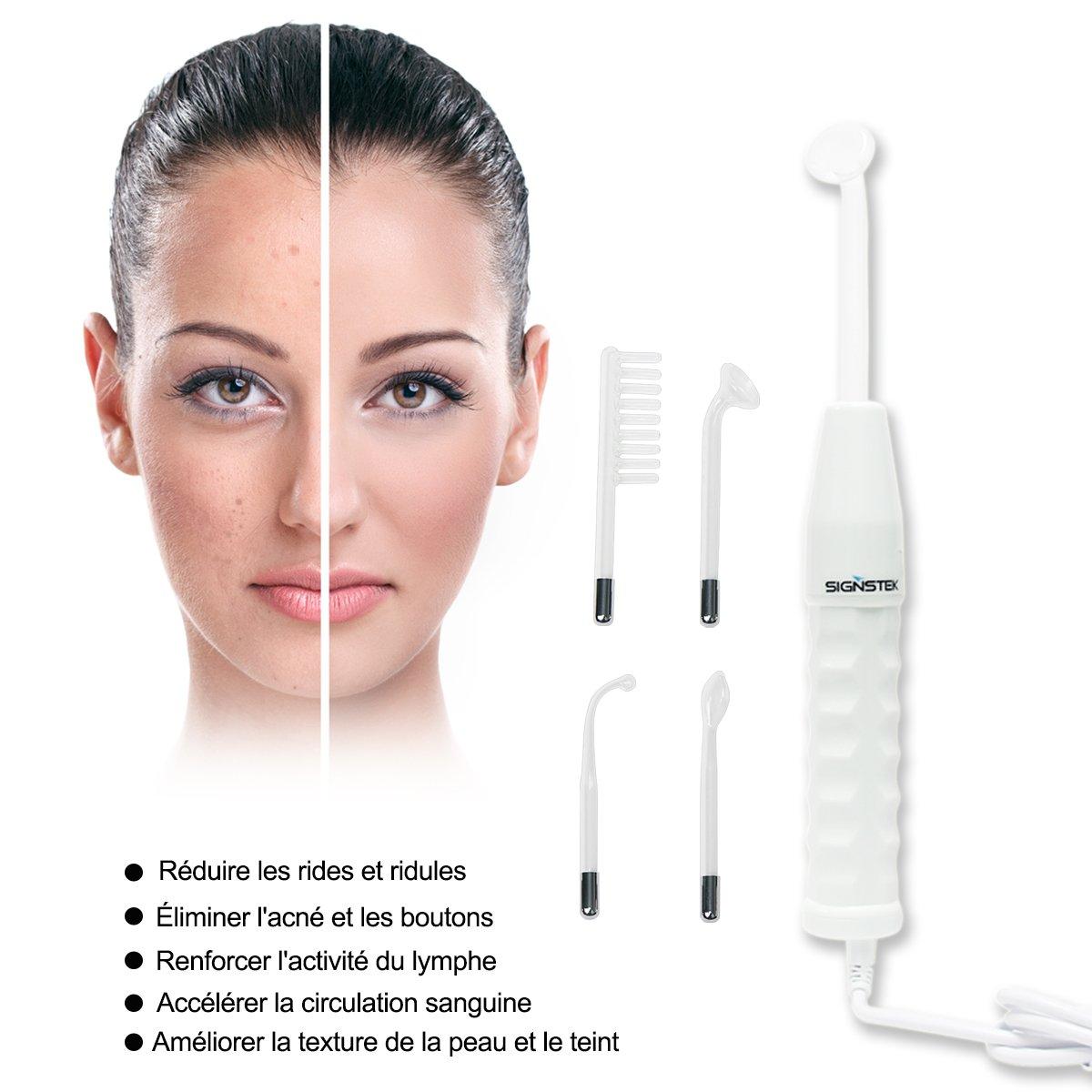 Signstek - Tratamiento facial de alta frecuencia para eliminar arrugas, acné y manchas, Enchufe de estándar europeo: Amazon.es: Hogar