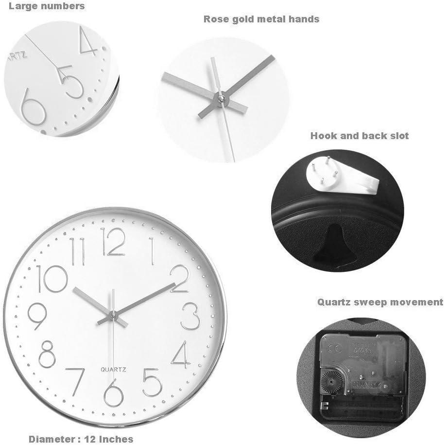 Foxtop Moderno Orologio da Parete Silenzioso per Casa Ufficio Cucina 30cm, Bianca Comporre, Nero Telaio