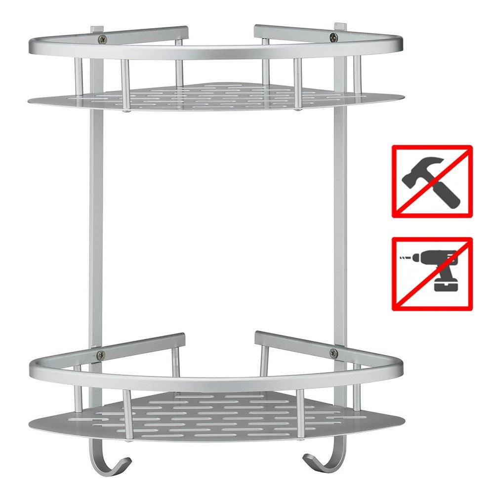 Seeutek Bathroom Shelf No Drilling Shower Storage Towel Shampoo Basket Durable Aluminum 2 Tiers Kitchen Corner Sticky No Drills Shelves