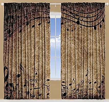 Musical Decor Curtains by Ambesonne, Music Notes Chopin Sheet for Musician  Jazz Lovers All Tones