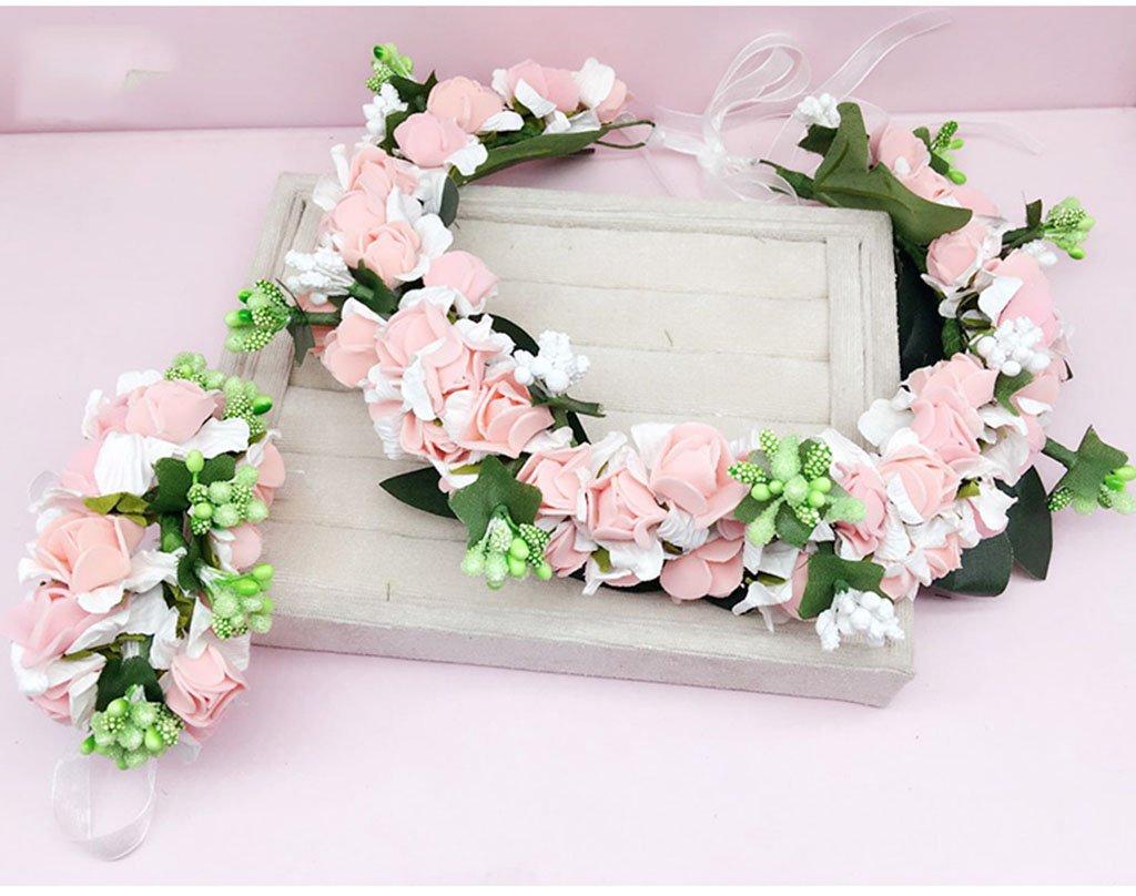 Wreath Flower, Headband Flower Garland Handmade Wedding Bride Party Ribbon Headband Wristband Hairband Blue/Pink/Purple (Color : Pink)