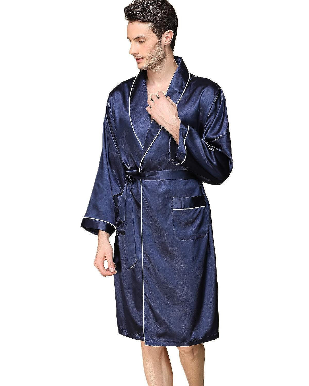 Haseil Mens Satin Kimono Robe Spring Summer Shawl Collar Sleepwear Classic Silk Bathrobes