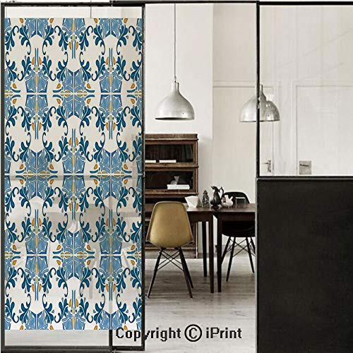 Traditional House Decor 3D Decorative Film Privacy Window Film No Glue,Frosted Film Decorative,Roman Tile Mosaic Design with Famous Artful Eastern Inspired Image,for Home&Office,23.6x70.8Inch Blue Yel