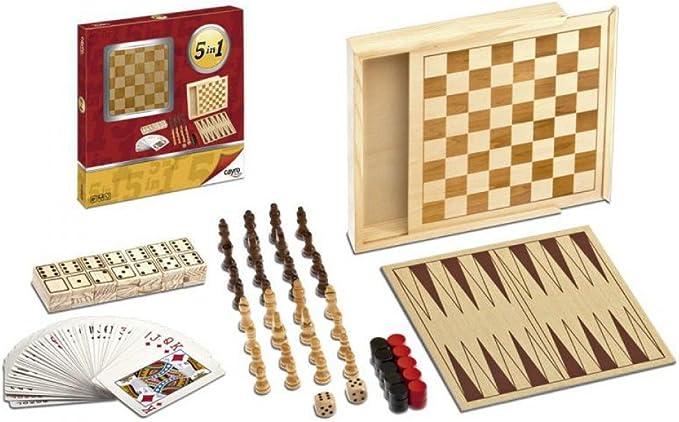 Cayro Meadow Kids 904 - 5 Juegos En 1 (Ajedrez-Damas-Dominó-Pocker-Backgamon) (Madera) (+8 Años) , 45.5 x 11 x 8 cm: Amazon.es: Juguetes y juegos