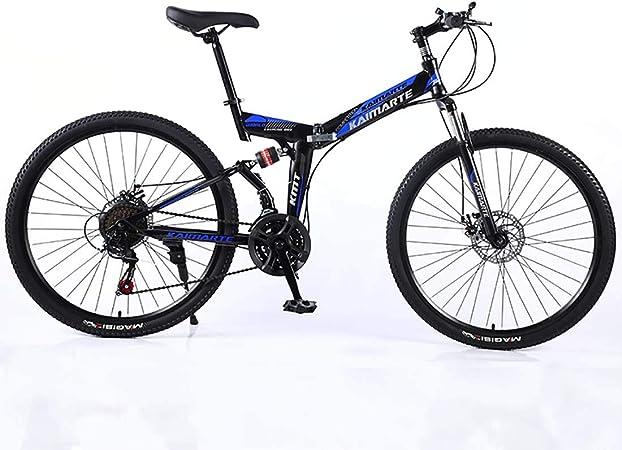 F-JWZS Unisexo Bicicleta de Montaña de Doble Suspensión, 24 Pulgadas Bicicleta Plegable, 21/24/27 Velocidad con Freno de Disco - para Estudiantes, Niños y Adultos,Blue,21Speed: Amazon.es: Hogar