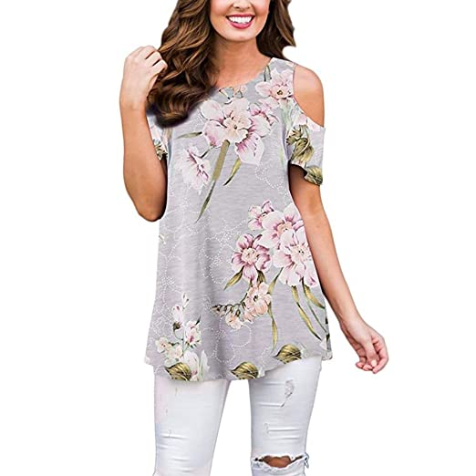 363d3a30ebd Summer T-Shirt Women Blouse Ladies Tops Flowers Cold Shoulder Round Neck  Tank Casual