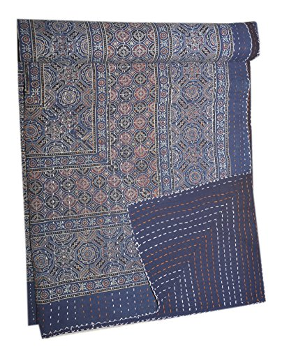(Tribal Asian Textiles New Indian Kantha Hand Block Print Design Bed Cover King Size Blanket Throw)