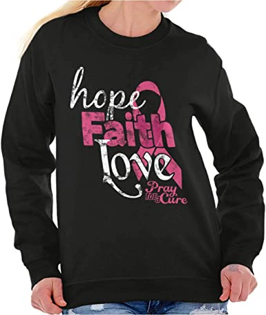 Praying For Cure Fighter Breast Cancer Awareness BCA Gift Crewneck Sweatshirt