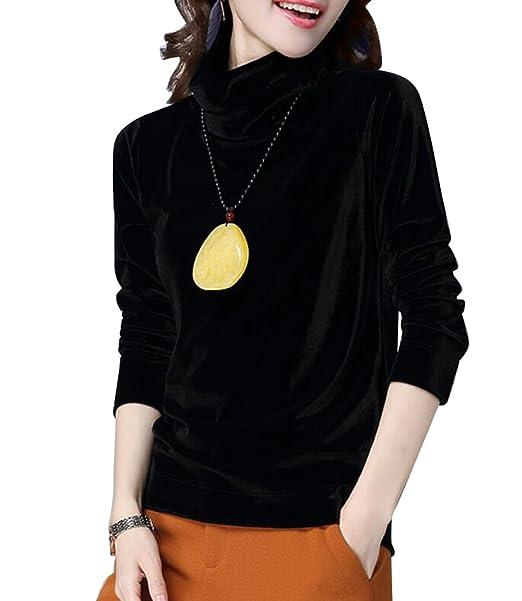 a864489c68d71f BLTR-Women Long Sleeve Velour Turtleneck Velvet Tops Blouse Black US S