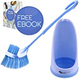 Eco Toilet Brush | Amazing Long Handle Toilet Under The Rim Bowl Brush with Holder | Pure Clean in 1 Motion With Pan Lip and Caddy | Deep Cleaning System | Hygiene Ensured and Anti Slip Grip | 505.4