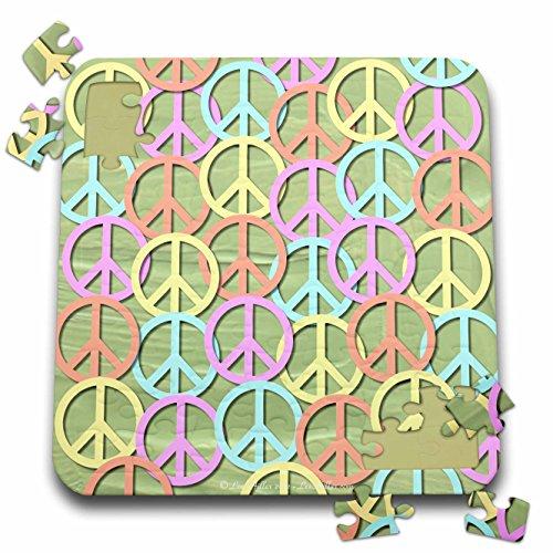 Lee Hiller Designs 60s Retro - Retro 60s Pastel Peace Signs on Sage Green Paint - 10x10 Inch Puzzle (pzl_53212_2) - 60s Pastel