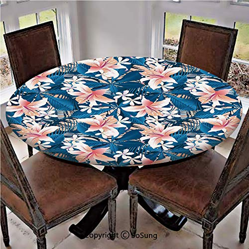 Elastic Edged Polyester Fitted Table Cover,Singapore Plumeria and Tropical Hibiscus Hawaiian Flowers Grunge Design Decorative,Fits up to 36