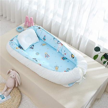 TEALP Cama Nido de Bebé Recién Nacido, Cuna de Viaje Portátil, Cuna para bebé recién nacido para 0 a 24 meses, cohete blanco
