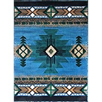 Champion Rugs Southwestern Native American Area Rug Geometric Light Blue Green (5 Feet 2 Inch X 7 Feet)