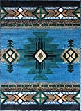 Champion Rugs Southwest Native American Indian Light Blue Green Area Rug Design #CR19 (3 Feet 10 Inch X 5 Feet 1 Inch)