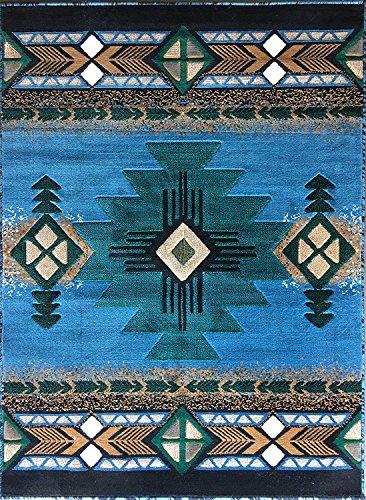 South West Native American Area Rug Blue Green Design C318 (8 feet x10 feet)